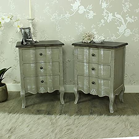 Furniture Bundle, Pair of 3 Grey Drawer Bedside Chests - French Grey Range