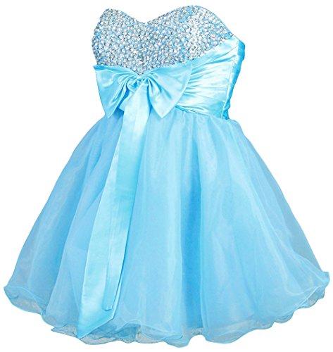 Dapene® Women'S Sweetheart Beaded Bow Short Prom Dresses Sky Blue Us 16