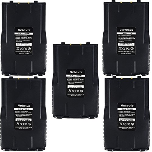 Retevis RT7 Replacement 1500mAh 3.7 V Li-ion Battery for Retevis RT7 2 Way Radio Walkie Talkie(5 Pack)