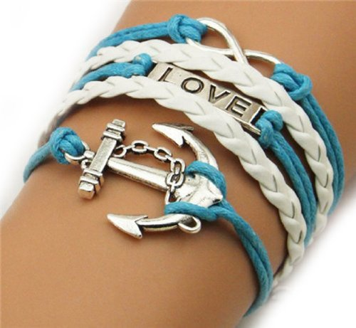 Love Anchor Infinity Silver Color White Blue Wax Cords Leather Braid Leather Bracelet