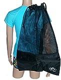 Mesh Draw String with Shoulder Strap Bag for Scuba, Snorkel, Boat, Swim