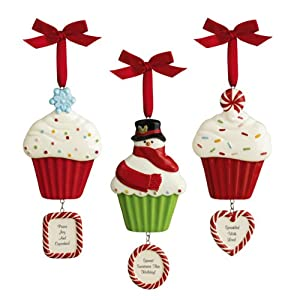 Grasslands Road Holiday Sweet Soiree Let it Snow Cupcakes and Ceramic Cupcake Dangle Personalized Ornaments, Set of 18 at Sears.com