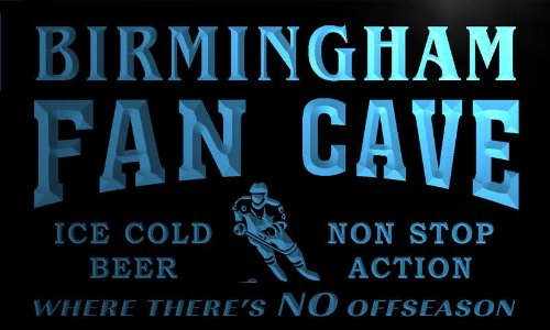 Tg2147-B Birmingham Hockey Fan Cave Man Room Bar Beer Neon Light Sign