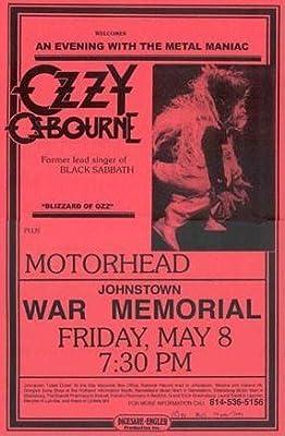 Black Sabbath Ozzy Osbourne with Motorhead Live 1981 Retro Art Print - Poster Size - Print of Retro Concert Poster - Features Tony Iommi, Geezer Butler and Ozzy Osbourne.
