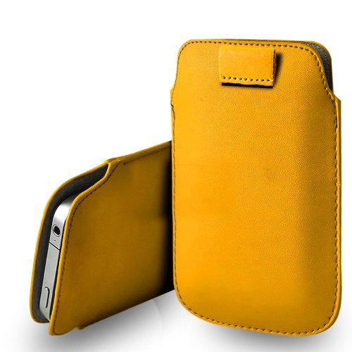 Huawei Ascend G620s Yellow Leder Pull Tab Tasche Tasche & Poliertuch