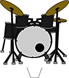 12 x Novelty Drum Kit Edible Standup Wafer Paper Cake Toppers