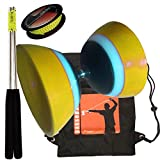 Diábolo Edad Sundia 501 amarillas 5 ejes con rodamientos de bolas + palillos de diapositivas de cuerda 10m pro de aluminio y mochila