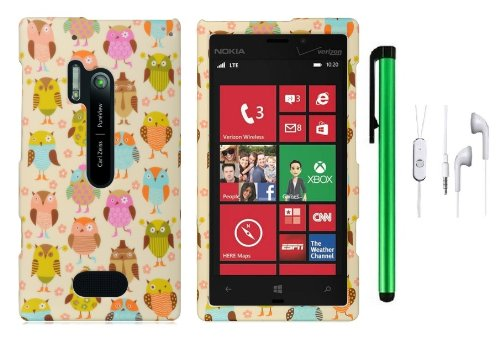 Nokia Lumia 928 (Verizon; Microsoft Windows Phone 8) Premium Pretty Design Protector Hard Cover Case + 3.5Mm Stereo Earphones + 1 Of New Assorted Color Metal Stylus Touch Screen Pen (Fantasy Colorful Owl Family)
