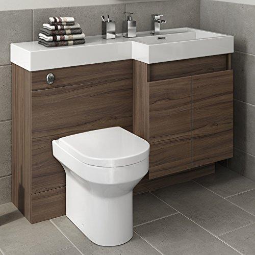 1200 mm modern walnut bathroom vanity unit basin sink for Modern bathroom units
