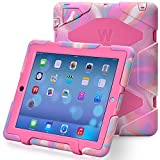 iPad Cases,iPad 2 Case,iPad 4 Case,TRAVELLOR®[Heavy Duty] iPad Case,Three Layer Armor Defender And Full Body Protective Case Cover With Kickstand And Screen Protector for iPad 2/3/4 - PCamo/Pink