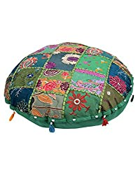Colorfull Cotton Pouf Cover Green Patch Work Floral Ottoman Cover By Rajrang