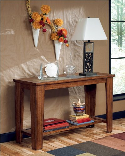 Toscana Sofa Table Wood with Natural Slate Tiles