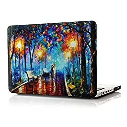iCasso Art Image Series Ultra Slim Light Weight Rubberized Hard Case Glossy Clear Crystal Snap-On Hard Cover Case for MacBook Pro 13 inch (Model: A1278) - Rainy Night(AT54378E)