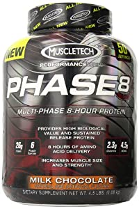 Muscletech Phase8 Susatined Release Protein, Milk Chocolate, 4.5  lbs.