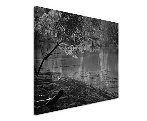 50x70cm Leinwandbild schwarz weiß in Topqualität See Jiuzhaigou Nationalpark China
