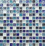(ノスタルジア) ブルーシルバーグラス( 青 ガラス モザイクタイル シート 20mm角 )小口出荷(1シート)