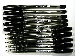 FABER-CASTELL NEW 10 PENS ALL BLACK INK , BARREL Model 1423 BALL POINT PEN size 0.5mm.