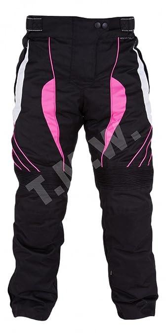 Femmes noires et roses imperméables Pantalons moto avec une armure