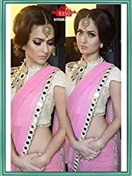 Vinayak Textile Women's Light Pink colored Pure Georgette Bollywood Party Wear Saree