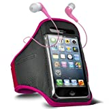 Fone-Case Blackberry Torch 9860 Adjustable Sports Fitness Jogging Arm Band Case & 3.5mm In Ear Earbud Base Earphones (Hot Pink)
