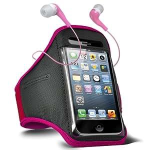 Fone-Case Samsung Galaxy i9190 S4 Mini verstellbaren Sport Fitness Jogging Arm Band Hülle & 3,5 mm In-Ear-Ohrhörer Basis Kopfhörer (Hot Pink)