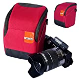 First2savvv high quality anti-shock red Nylon camera case bag for olympus SZ-14 + card reader