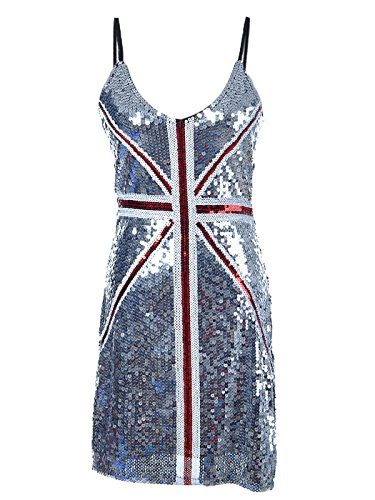 Anna-Kaci Womens Adjustable Silver Sequin British Union Jack Flag Sleeveless Dress (British Flag Outfit compare prices)