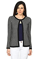 Annabelle by Pantaloons Women's V-Neck Cardigan (205000005619453, Black, Large)