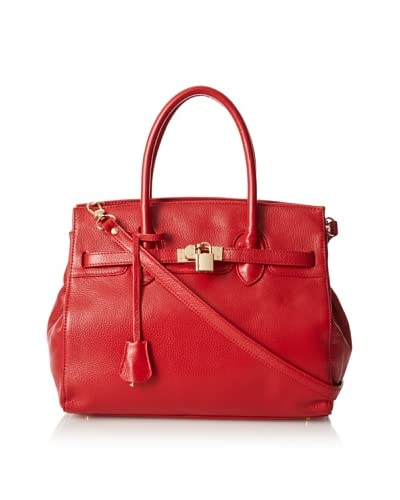 Zenith Women's Large Satchel with Lock Detail, Red, One Size