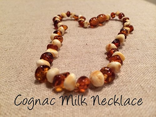 Baltic Amber Teething Necklace For Babies And Toddlers Polished Milk Cognac Certified Authentic. Anti-Inflammatory, Reduction Of Drooling, Red Cheeks, Teething Pain. Highest Quality front-89562