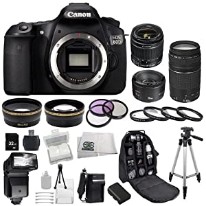 Canon EOS 60D DSLR SSE Bundle Camera Kit with 3 Canon lenses: Featuring Canon EF-S 18-55mm f/3.5-5.6 IS II + Canon Normal EF 50mm f/1.8 II + Canon Zoom Telephoto EF 75-300mm f/4.0-5.6 III Autofocus Lens, Also Includes: 0.43x Wide Angle Lens & 2.2x Telephoto Lens, 3 Piece Multi-Coated Filter Kit & 4 Piece Macro Lens Kit, Extra LP-E6 Replacement Battery & Travel Charger, 32GB SDHC Memory Card & Reader, Deluxe Backpack, Bounce and Swivel Zoom Flash and Much More