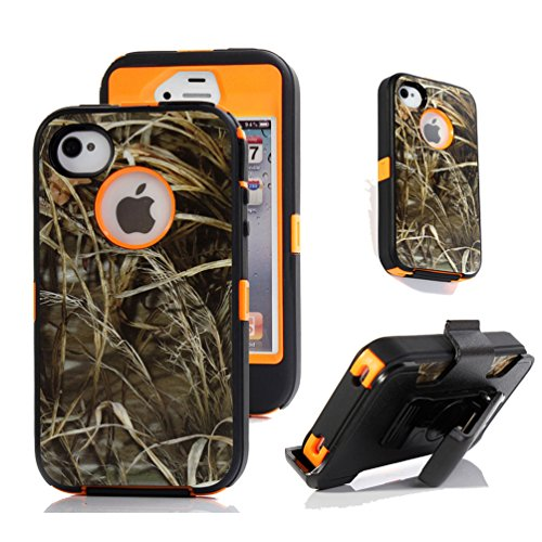 iPhone 4s Holster Case, Harsel® Defender Series Heavy Duty Tree Camo Shockproof Full Body Hybrid Combo Military w' Belt Clip Built-in Screen Protector Case Cover for iPhone 4s - Straw Orange (Camo Iphone 4 Covers compare prices)