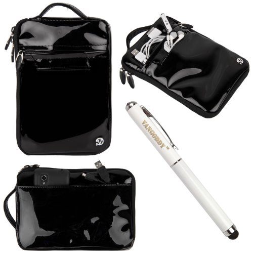 "Vg Hydei Black Patent Leather Bag Carrying Case For Hp Slate 7, Extreme, Plus, Hd 4G, Beats Special Edition 7"" Tablet + 3 In 1 Stylus Pen"