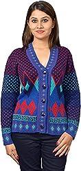 KTC Women's Wool Regular Fit Cardigan (651-V48, Navy, 38)