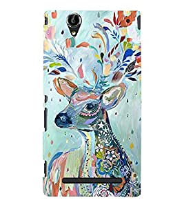ARTICTIC SPECULATION OF A DEER IMAGE 3D Hard Polycarbonate Designer Back Case Cover for Sony Xperia T2 Ultra :: Sony Xperia T2 Ultra Dual