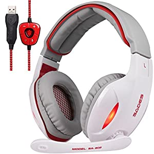 [Hot 2016 White Version of SA902 7.1 channel Gaming Headset]SADES SA902W PC Computer USB headsets, Wired Over Ear Stereo Headphones With Microphone Noise Isolating Volume Control LED Light (White/Red)