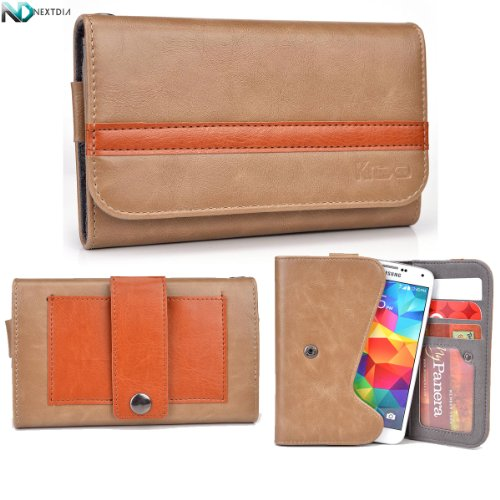 Karbonn A6 Wallet With Belt Attachment Brown And Caramel With Credit Card Holder