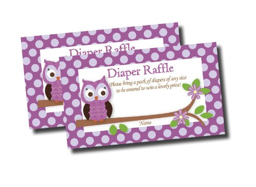 Purple Owl Printed Diaper Raffle Tickets Baby Shower (50-cards) (Purple Baby Shower Invites compare prices)