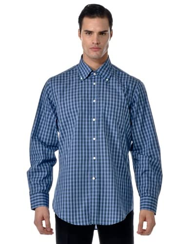 Camicissima Camicia Slim Fit Quadri Button Down [Azzurro/Verde]