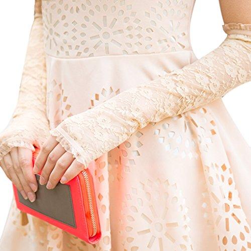 Donna elegante sexy pizzo protezione UV opera-length senza dita Guanti da sposa per matrimonio sera prestazioni Show Beige Taglia unica