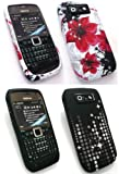 Emartbuy® Nokia E71 Bundle Pack of 2 Silicon Skin Cover/Case - Oriental Flowers & Twilight Stars
