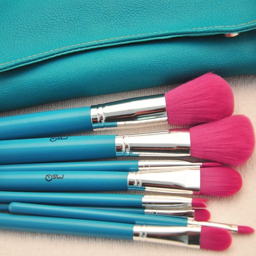 9pcs Professional Makeup Make up Cosmetic Brush Set Kit Tool with Leather Bag 3concept eyes professional 9 in 1 artificial wool cosmetic brush tool w storage bag black