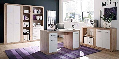 Komplettes Arbeitszimmer in San Remo Eiche / Weiß - Buromöbel Komplett Set Modell 2016
