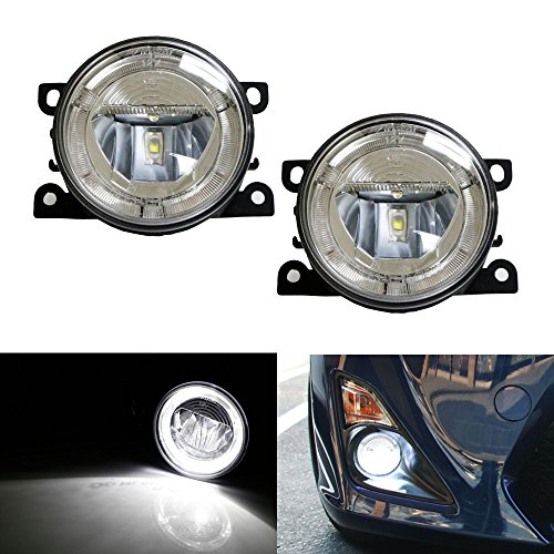 Ijdmtoy Oem Fit 20W High Power Cree Led Fog Lamps With Led Halo Rings As Daytime Running Lights For Acura Honda Ford Lincoln Subaru Nissan Suzuki, Etc