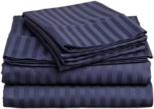 Impressions Genuine Egyptian Cotton 400 Thread Count Twin 3-Piece Sheet Set Stripe, Navy Blue front-912649