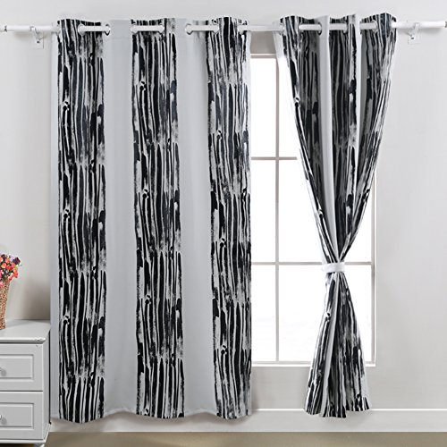 Deconovo Vertical Stripes Foil Print Design Thermal Insulated Window Blackout Curtain 52x95 Pair,White (Thermal Striped Pair Of Curtains compare prices)