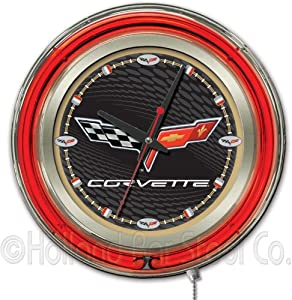 Corvette - C6 15 Double Neon Ring Logo Wall Clock Color: Black Gold by Holland Bar Stool