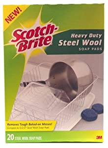 Scotch Brite Heavy Duty Steel Wool Soap Pads Removes Tough Baked on Messes 20 Pads By 3m (1 Box)