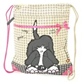 Carrots Girl's Bang Shaggy Dog Draw String Bag - Beige/Pink