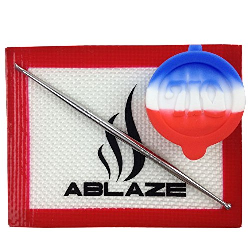 ABLAZE Red Dab Nonstick Non Stick Oil Wax Silicone Mat Pad Container Jar Tool Kit 710